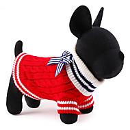 Kat Hond Truien Kerstmis Hondenkleding Schattig Nieuwjaar Kleurenblok Rood Blauw Kostuum Voor huisdieren