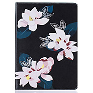 For Samsung Galaxy Tab T815 T715 PU Leather Material Black Lily Embossed Pattern Plate Sets T580 T560 T550 T377 T280 T350