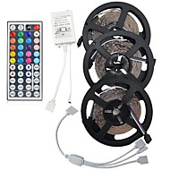 15M(3*5M) 5050 RGB 450 LEDs Strip Flexible Light LED Tape String Lights Not waterproof DC 12V 450LEDs with 44Key IR Remote Controller Kit