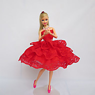 halpa Harrastukset-Juhla/ilta Mekot varten Barbie-nukke Pitsi Satiini Leninki varten Tytön Doll Toy