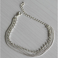Недорогие $0.99 Модное ювелирное украшение-Многослойность Ножной браслет - Серебрянное покрытие, Искусственный бриллиант европейский, Мода, Многослойный Серебряный Назначение Повседневные Жен.