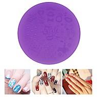 abordables Estampados de Uñas-1pcs placas de estampación en plástico de color púrpura del arte del clavo de la plantilla 7cm herramientas de la plantilla manicura