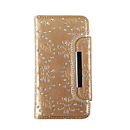 Недорогие Чехлы и кейсы для Galaxy S7-Кейс для Назначение SSamsung Galaxy S8 Plus S8 Бумажник для карт Кошелек Стразы Чехол Цветы Мягкий Настоящая кожа для S8 Plus S8 S7 edge