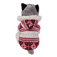 billiga -Hund Kappor Huvtröjor Hundkläder Håller värmen Vändbar Jul Snöflinga Brun Röd Kostym För husdjur