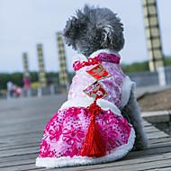 billige -Hund Frakker Kjoler Hundeklær Klassisk Bryllup Nyttår Blomsternål i krystall Mørkeblå Rose Blå Rosa Kostume For kjæledyr