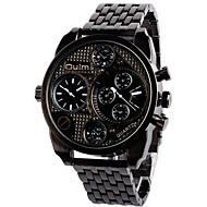 저렴한 -Oulm 남성용 밀리터리 시계 손목 시계 석영 듀얼 타임 존 합금 밴드 빈티지 캐쥬얼 멋진 블랙 브론즈