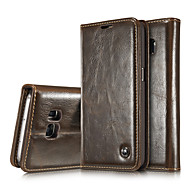cheap Cases / Covers for Samsung-Case For Samsung Galaxy Samsung Galaxy Note Card Holder Wallet with Stand Flip Full Body Cases Solid Color Genuine Leather for Note 5