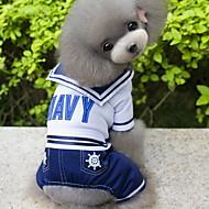 お買い得  -犬 コスチューム ジャンプスーツ 犬用ウェア セーラー ダークブルー コットン コスチューム ペット用 男性用 コスプレ ファッション