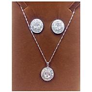 abordables -Mujer Zirconia Cúbica Conjunto de joyas - Zirconio, Zirconia Cúbica Estilo Simple Incluir Plata Para Fiesta / Pendientes / Collare