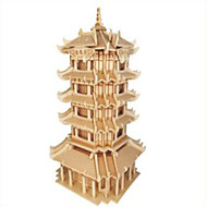puslespil Træpuslespil Byggesten DIY legetøj Fighter Berømt bygning Kinesisk arkitektur 1 Træ Krystal Model- og byggelegetøj
