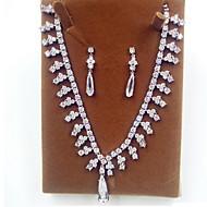 abordables -Mujer Nupcial Zirconio Zirconia Cúbica Diamante Sintético Collares Pendientes Para Boda Fiesta Regalos de boda