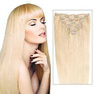 お買い得  -Febay Clip In 人間の髪の拡張機能 ストレート レミーヘア 人毛 ダークブロンド ミディアムブロンド ダークワイン
