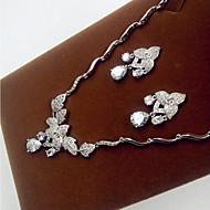 billiga -Dam Minimalistisk Stil Zircon Crown Form Dekorativa Halsband Örhängen Till Party Bröllopsgåvor