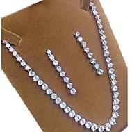 abordables -Mujer Zirconia Cúbica Conjunto de joyas - Zirconio, Zirconia Cúbica Corona Incluir Plata Forma de Corona Para Fiesta / Pendientes / Collare