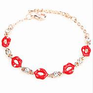 billige -Dame Kæde & Lænkearmbånd Krystal Personaliseret Mode Europæisk Legering Smykker Læber Smykker Til Bryllup Fest Fødselsdag Daglig Afslappet
