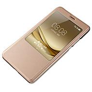 olcso Mobiltelefon tokok-Mert Betekintő ablakkal Automatikus készenlét/ébresztés Case Teljes védelem Case Egyszínű Kemény Műbőr mert HuaweiHuawei P9 Huawei P9