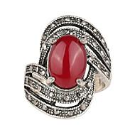 billige -Dame Krystal Kvadratisk Zirconium Ring Legering Luksus Klassisk Europæisk Moderinge Smykker Sort / Rød Til Afslappet 7 / 8 / 9 / 10