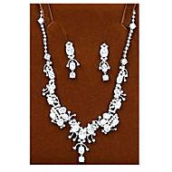 abordables -Mujer Cristal Conjunto de joyas Zirconio, Zirconia Cúbica Nupcial Incluir Plata Para Boda Fiesta / Pendientes / Collare