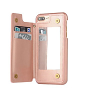 For iPhone 8 iPhone 8 Plus iPhone 7 iPhone 7 Plus iPhone 6 Case Cover Card Holder Dustproof Mirror Back Cover Case Solid Color Hard PU