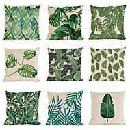 """conjunto de 9 hojas de la lluvia tropical hojas de lino tropicales hibisco flor almohada caso (18 """"* 18"""")"""