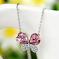 Кулоны Кристалл В форме цветка Четырехлистный клевер Стерлинговое серебро Базовый дизайн Цветочный дизайн Цветы Цветочный принт Мода