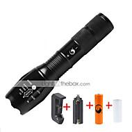 halpa Taskulamput-U'King LED taskulamput LED 1000 lm 5 Tila Cree XM-L T6 Akulla ja laturilla Zoomable Säädettävä fokus Himmennettävissä Kompakti koko