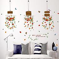 voordelige -Botanisch Mode Bloemen Muurstickers Vliegtuig Muurstickers Decoratieve Muurstickers,Papier Materiaal Huisdecoratie Muursticker