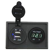 Недорогие Автомобильные зарядные устройства-12v / 24v 3.1a двойной USB разъем и водить вольтметр с держателем корпус панель для автомобиля лодки грузовик с.в.