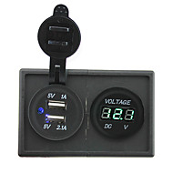 voordelige -12v / 24v 3.1a dual usb-aansluiting en leidde voltmeter met huisvesting houder paneel voor auto boot truck rv