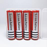 18650 Paristot Battery Case mAh 4kpl Ladattava Hätä varten Telttailu/Retkely/Luolailu Päivittäiskäyttöön Poliisi/Armeija Pyöräily