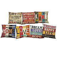 cheap Home Textiles-7 pcs Linen Pillow Case Pillow Cover, Solid Quotes & Sayings Wildlife Textured Novelty Casual Beach Style Bolster Traditional/Classic