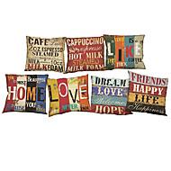 abordables Textiles para el Hogar-7 PC Lino Funda de almohada Cobertor de Cojín, Un Color Refranes y citas Vida Salvaje Con Texturas Novedad Casual Estilo playero Reforzar