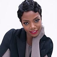 Mulher Perucas sintéticas Sem Touca Curto Ondulado Preto jet Peruca Afro Americanas Para Mulheres Negras Peruca Natural Peruca de