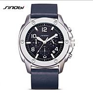 Недорогие Фирменные часы-SINOBI Модные часы Защита от влаги / Ударопрочный / Фосфоресцирующий Натуральная кожа Группа На каждый день Темно-синий / Два года / Sony SR626SW