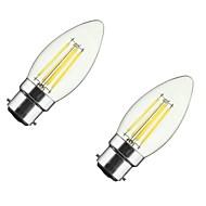 2PCS 4W B22/E27 LED Filament Bulbs C35 4COB 300-400 lm Warm White Dimmable AC 220-240/110-130 V
