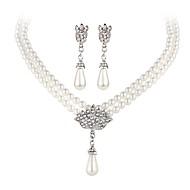 Искусственный жемчуг Жемчуг Белый 1 ожерелье 1 пара сережек Для Для вечеринок Повседневные 1 комплект Свадебные подарки