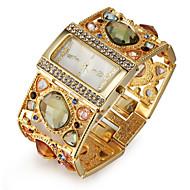 billige Bohemeure-Dame Quartz Armbåndsur Japansk Imiteret Diamant Legering Bånd Luksus Glitrende Elegant Guld