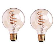 olcso LED izzólámpák-ONDENN 2pcs 4 W 400-500 lm B22 E26/E27 Izzószálas LED lámpák G80 1 led COB Tompítható Meleg fehér AC 220-240 AC 110-130 V