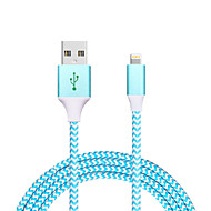 USB 2.0 Flettet Normal Kabel Til Apple iPhone iPad 120 cm Metall Nylon Aluminium