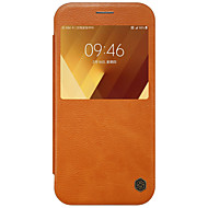 Для с окошком Флип Кейс для Чехол Кейс для Один цвет Твердый Искусственная кожа для Samsung A7 (2017) A3 (2017) A5 (2017)