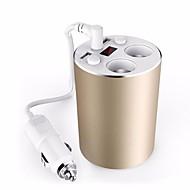 автомобиль зарядное устройство золотой кубок стиль 3.1a USB автомобильное зарядное устройство 100w гнездо прикуривателя 12 / 24v вольтметр