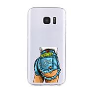 Недорогие Чехлы и кейсы для Galaxy S7 Edge-Кейс для Назначение SSamsung Galaxy S7 edge S7 Прозрачный С узором Кейс на заднюю панель Соблазнительная девушка Мягкий ТПУ для S7 edge