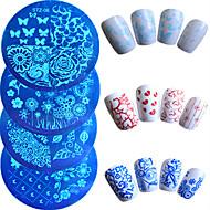 7pcs / set warm te koop mode nail art stempelen plaat kleurrijke bloem vlinder mooi hartontwerp manicure stencils nagel gereedschap