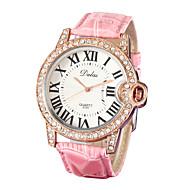 رخيصةأون -نسائي ساعة المعصم ياباني جلد اصطناعي الأبيض / الوردي تقليد الماس مماثل سيدات مضيئ موضة - أبيض زهري