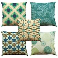abordables Textiles para el Hogar-5 PC Lino Natural/Orgánico Funda de almohada Cobertor de Cojín, Un Color Floral A Cuadros Con Texturas Casual Estilo playero Euro