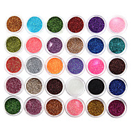 30Pcs Mixed Color Eyeshadow Powder Glitter Mineral Spangle Sequins Nail Art Decorations