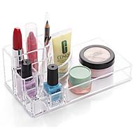 Acrylic Transparent Portable Quadrate Solid Cosmetics Makeup Storage Stand Makeup Brush Pot Cosmetic Organizer for Lipstick Eyeliner Nail Polish