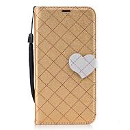 olcso Galaxy J5(2016) tokok-Case Kompatibilitás Samsung Galaxy J5 (2016) J3 (2016) Kártyatartó Pénztárca Állvánnyal Flip Mágneses Teljes védelem Tömör szín Szív