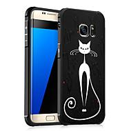 För Samsung Galaxy S7 S6 väska täcker stötdämpat präglat mönster baksida katt mjuk tpu