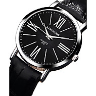KINGNUOS 남성 패션 시계 손목 시계 캐쥬얼 시계 석영 가죽 밴드 멋진 캐쥬얼 블랙 브라운 블랙 브라운